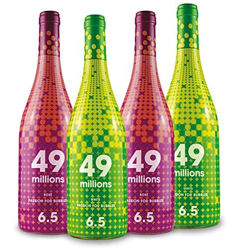 Pack - 2 botellas de 49 Millions Blanco + 2 botellas de 49 Millions Rosado - 750 ml x 4 (Mosto Parcialmente Fermentado - Baja graduación de solo 6,5% - Refrescante y con finas burbujas)