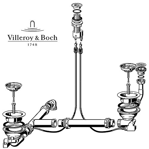 Villeroy und Boch Ablaufgarnitur 823210 mit Excenter für Spülstein Doppelbecken/Ablaufgarnitur
