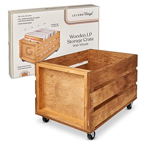 Legend Vinyl Holz-Schallplatten-Aufbewahrungskiste auf Rädern, ideal zur Aufbewahrung von Vinyl | für bis zu 100 Schallplatten und LPs