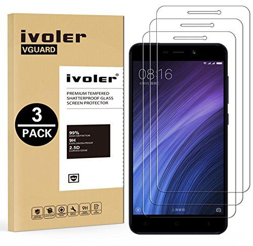 ivoler [3 Stücke] Panzerglas Schutzfolie für Xiaomi Redmi 4A, 9H Festigkeit, Anti- Kratzer, Bläschenfrei, [2.5D R&e Kante]
