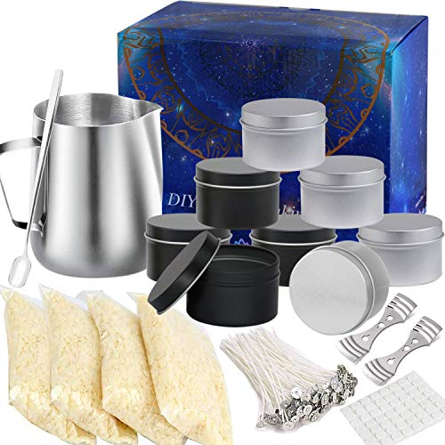 Macoya Kit de fabricación de velas, velas perfumadas, kits de regalo de bricolaje incluyen jarra para verter velas, velas Beewax, dispositivos de centrado, latas, mechas, mechas y varilla de agitación
