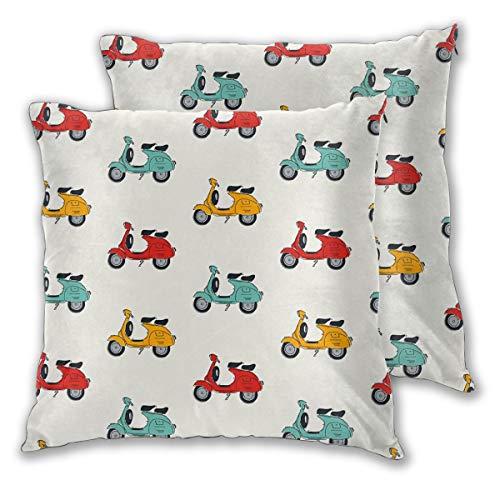 N/A Vespa Quadratische Kissenhülle Kissenbezug Home für Sofa Stuhl Couch Schlafzimmer Dekorative Kissenbezüge Set von 2