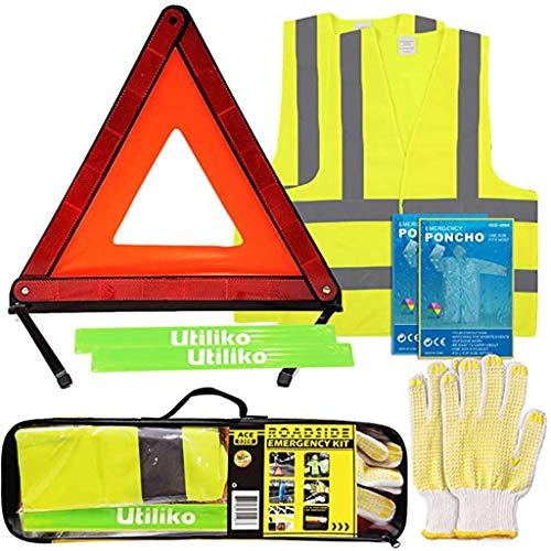 Roadside Safety Kit, Car Travel Emergency Kit Met Opvouwbare Red Reflecterende Driehoekswaarschuwingssein, Zichtbaarheid Vest, Poncho En Handschoen