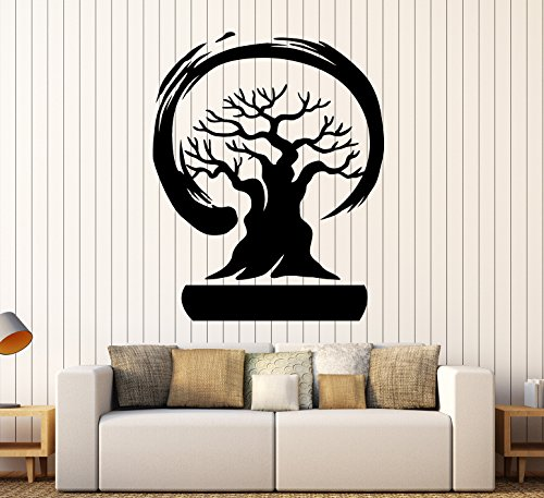 Large Vinyl Wall Decal Bonsai Tree Enso Circle Zen Asian Style Stickers Mural Large Decor (ig4582) Black