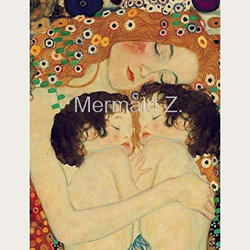 mmzki Pintado a Mano Obra Gustav Klimt Madre e Hijo Hold Pintura al óleo Lienzo Decoración de la Sala decoración del hogar Lienzo Pintura de Pared