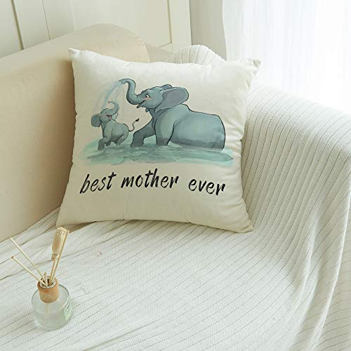 Soft Throw Pillow Covers Cushion Cover for Couch Bed Bench Car - Square Pillow Cases Sofa/Bedroom/Balcony Decorative Pillowcase, Best Mother Ever Cute Elephant Mother and Child Playing 24x24 inches