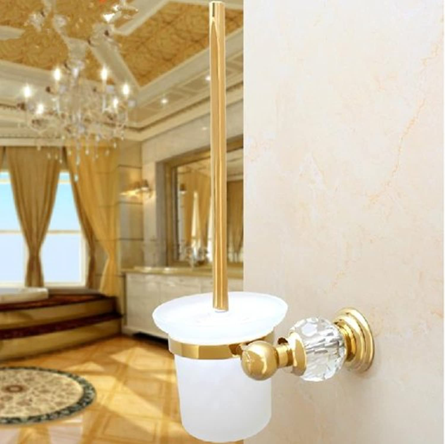 TACCY Bathroom Luxury Toilet Brush with Frosted Glass Cup and Brass Holder in Polished gold Finish  MT22A