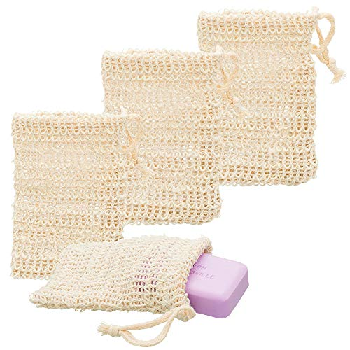 ECENCE 4x Sisal Seifenbeutel Seifensäckchen Set Bio Natur Seifennetz plastikfreie Produkte nachhaltig für unsere Umwelt