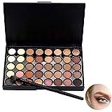 Hilai Cosmetic - Paleta de maquillaje de sombra de ojos mate con 40 colores + juego de brochas + cepillo inferior de cola de pez (A)