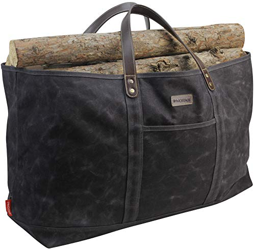 INNO STAGE Waxed Canvas Firewood Carrier, Cotton Log Carrying Tote Bag, Large Fire Wood Holder Accessories for Fireplace Stove, Hay Hauling for Outdoor Camping with Real Leather Handles
