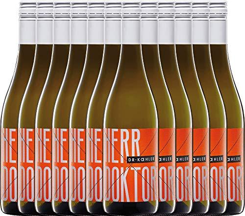 VINELLO 12er Weinpaket Weißwein - Herr Doktor 2020 - Dr. Koehler mit Weinausgießer | trockener Sommerwein | deutscher Weißwein aus Rheinhessen | 12 x 0,75 Liter