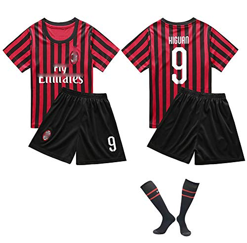 CHSC # 9 Higuaín Trikot Fußballuniform Trikotset Jersey,Outfit Kinder Kurzarm Shorts Socken Trainingsbekleidung Wettbewerb Fan-Ausgabenweste 1 Set blackred-26