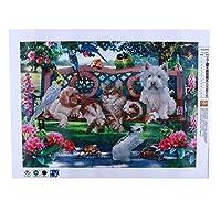 ダイヤモンド塗装3D DIYダイヤモンド塗装クロスステッチ動物公園ダイヤモンド刺繍針仕事ダイヤモンドモザイク犬ウサギ家の装飾