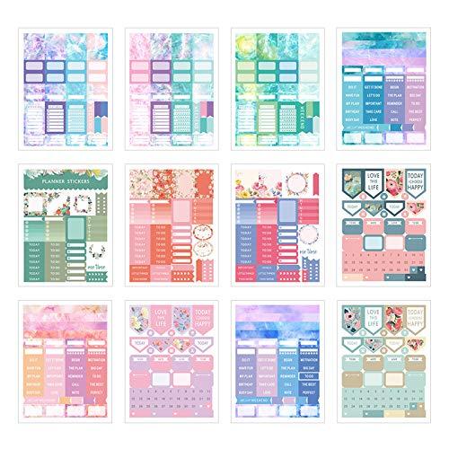 12 Hojas Pegatinas Agenda Pegatinas Diario multicolor Pegatinas de Productividad Pegatinas Decorativas Para Recortes Calendario Tablón de Anuncios