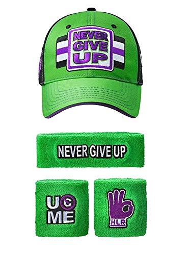 Freeze John Cena WWE Never Give Up grün lila Baseballkappe Stirnband Armband Satz