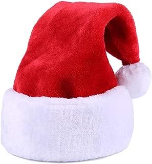 Yansanido 18.5'' Christmas Santa Hat Christmas Santa Hat,Thickened Luxury Short Plush Christmas Hat Thickened Lengthened Santa Claus Cap Xmas Hat for Adults (1 Pack)