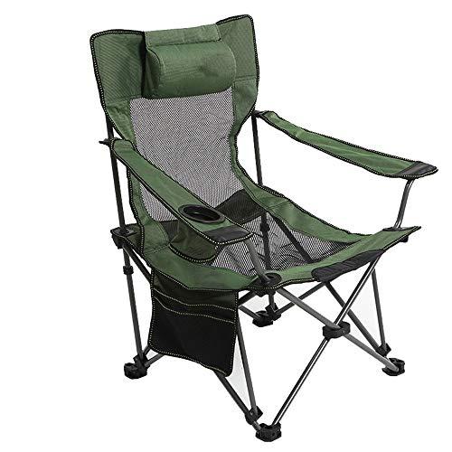 ZR Chaise Elite Pliante avec Poche et fourre-Tout en Maille dans Le Dos, Chaise de Camping réglable, Bleu, Vert (Couleur : Vert)
