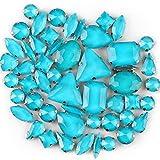 BrillaBenny 50 Pietre CASTONI Strass da Cucire Cristallo Vetro Mix CABOCHON Stone Claw DECORI Gioielli Bijoux Abito Scarpe (Blu Zircon Turchese)
