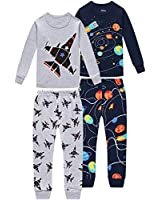 shelry Pajamas for Boys Children Airplane Rocket Clothes Christmas Kids Pants Set 4 Pieces Sleepwear 7t