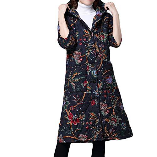 Damen Winter Mantel MYMYG Winterparka Warm Long Coat Pelzkragen Baumwolle Jacke Steppjacke Outwear Trenchcoat (Marine,EU:38/CN-L)