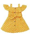 SUNNY PIGGY Toddler Girl Dresses Cold Shoulder Fashion Dress Girl's Clothing Polka Dot Little Girl Clothes Sleeveless Suspender Skirt Yellow 2-3T