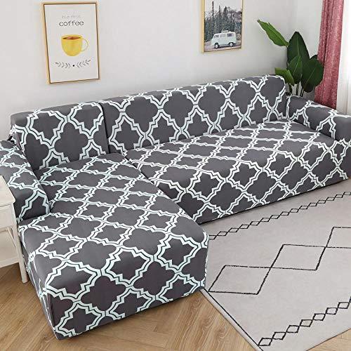 Tryckt sofföverdrag Stretch Fit Anti-halkskydd mot soffa Blå modell på grå bakgrund 3-Seat 190-230cm