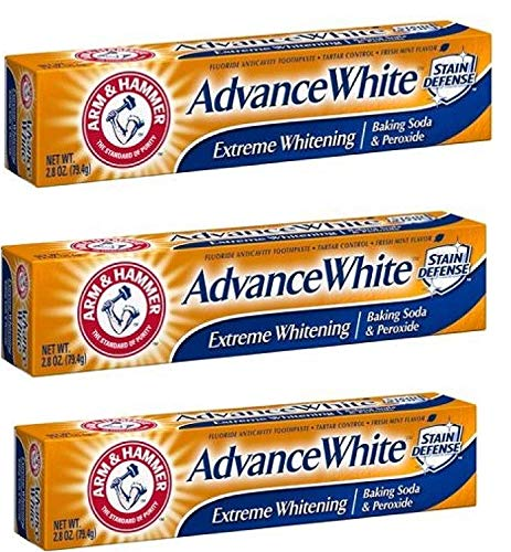 Arm and Hammer Advance White Extreme Whitening Toothpaste 2.8 ounce Travel Size (Pack of 3)
