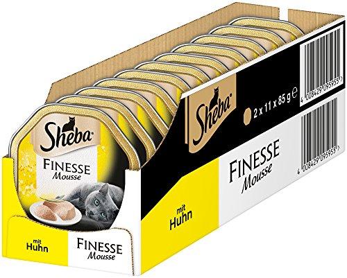 Sheba Finesse mousse, romig kattenvoer in heerlijke smaken, 22 Schalen (2 x 11 x 85 g)