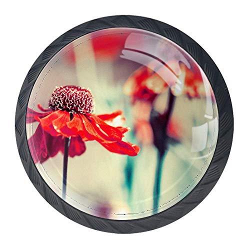COOSUN Rood, Petal, Bloem, Bloem, Plant, Tuin, Buiten, Waas Lade Knop Trek Handvat Kristal Glas Cirkel Vorm Kast Trekken Kast Knopen met Schroeven voor Thuis Kast Kast Cupboard (4 Stuks)