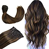 WENNALIFE Clip in Human Hair Extensions, 18 Inch 120g...