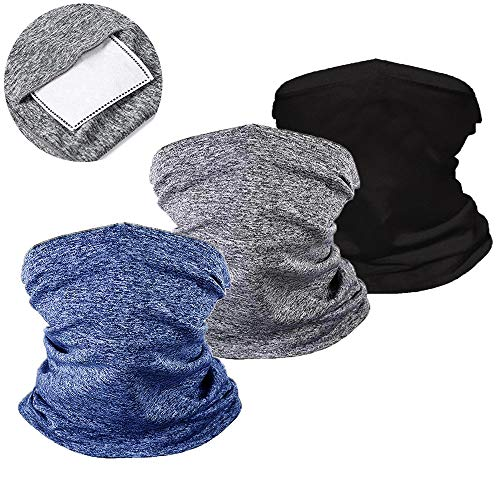 ZOORON Kids Neck Gaiters with Filter Face Cover for Children Face Scarf Mask Bandana Balaclava for Sports Outdoors Cycling (black-gray-blue)