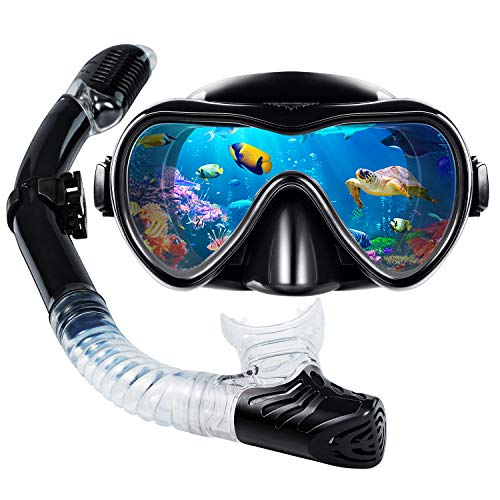 VillSure Snorkel Set for Adults, Snorkeling Gear Anti-Fog Tempered Glass Snorkel Mask for Swimming,Scuba Diving, Anti Leak Dry Top Snorkel Gear Panoramic Silicone Goggle No Leak for Women and Men