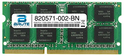 Brute Networks 820571-002-BN - 16GB PC4-17000 DDR4-2133MHz 2Rx8 1.2v Non-ECC SODIMM (Equivalent to OEM PN # 820571-002)