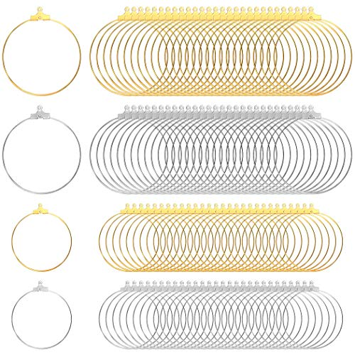 Tongcloud 120pcs Round Beading Hoop Earring Finding Component Accessories for Jewelry Making 2 Size (Gold and Sliver, 30mm and 40mm)