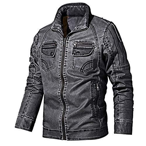 ZXYU Chaqueta de cuero para hombre, otoño e invierno, chaqueta de cuero retro, para hombre, exterior, invierno, cargo, chaqueta militar, cortavientos