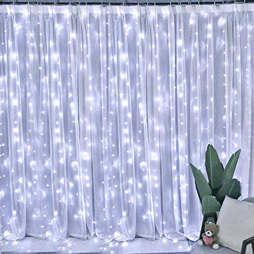 USUGER Christmas Decoration String Light, 300 LED Window Curtain String Light for Bedroom Wedding Party Home Garden Outdoor Indoor Wall Christmas Decorations (Cool White)