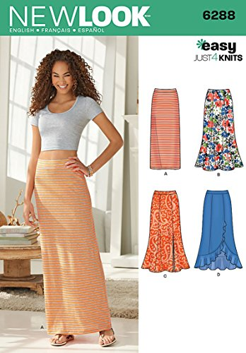 Simplicity New Look Easy Just 4 Knits Pattern 6288 Misses Pull on Knit Skirts, Sizes 8-10-12-14-16-18-20