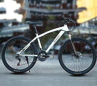 MACCE Disc Brake 21 Speed Mountain Bike, Spoked Wheel 26 Inch, White