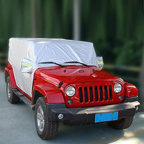 RT-TCZ Car Rain Sunshade Cover for Jeep Wrangler Tj JK JL 4 Door Windproof Dustproof Scratch Resistant Outdoor UV Protection Auto Cover