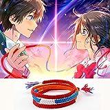 Regeek Strand Bracelets - ABL017(1), Kimi Your Name Harajuku Wrap Bracelets Japan Anime Braided Red Rope Bracelets Pulsera Boho Jewelry Best Friend Gift