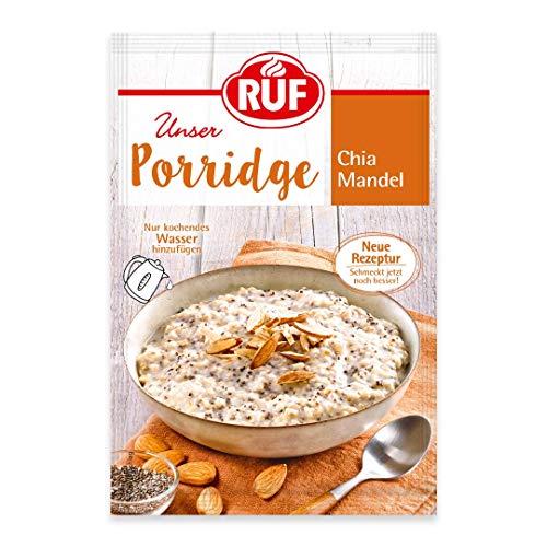 RUF Porridge Chia Mandel mit Vollkorn-Haferflocken, Chiasamen und gehackten Mandeln, 1 x 65 g