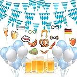 DAOUZL Oktoberfest Deko, Oktoberfest Party Deko Dekoration, Oktoberfest Dekoration Set mit 2 Pcs 10m Bayrisch Wimpelkette, Oktoberfest Ballon, Oktoberfest Foto Requisiten, fur Deko Oktoberfest Party