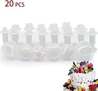 Luxanna 20 PCS Fondant Plunger Cookie Cutters Cupcake Decorating Tools Sugarcraft DIY Mold Supplies Cake Ejector Stamp Heart Oval Five-Pointed Star Square Round