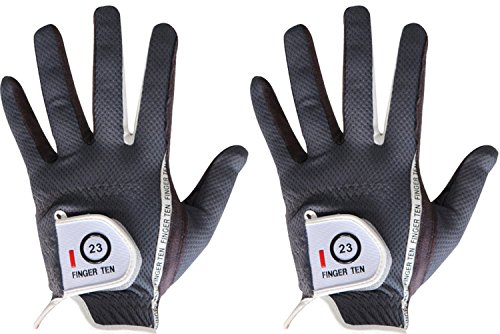 FINGER TEN Men's Golf Glove Rain Grip Pair Both Hand or 2 Pack Left Right Hand, Hot Wet Weather No Sweat, Black Gray Green, Fit Size Small Medium Large XL (X-Large Grey, Left)