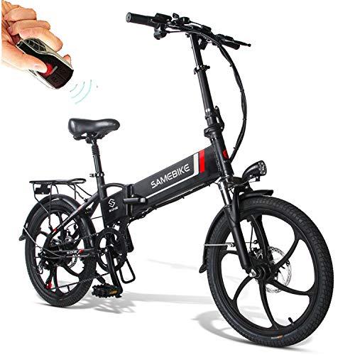 Bicicletas Eléctricas Plegable de Montaña/Ciudad/Trekking 350W 20 Pulgadas Control Remoto Batería 48V 10.4AH Soporte y Carga para Móviles Smartphone para Hombres Mujers Adultos[EU Stock]