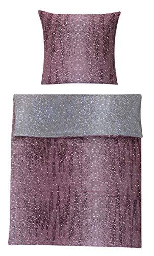 Optidream Mako Satin Bettwäsche 2 teilig Bettbezug 135 x 200 cm Kopfkissenbezug 80 x 80 cm Marvin Wende Pixel 399853 Lila Grau Weiß