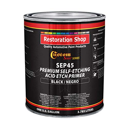 Custom Shop Premium Black Self Etching Primer, 1 Gallon - Ready to Spray Paint, Excellent Adhesion to Bare Metal, Steel, Aluminum, Fiberglass - Use on Automotive Car Parts, OEM Industrial Coating