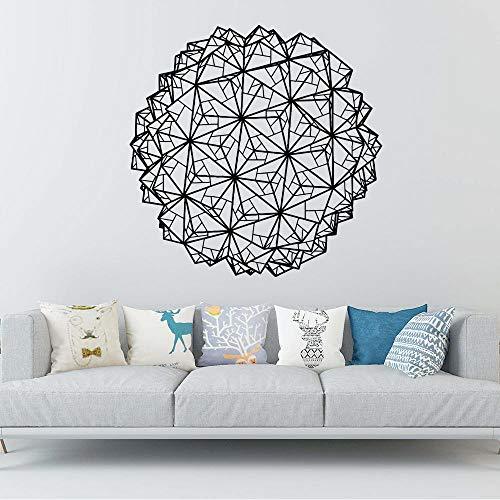 Mandala personalizada figura geométrica Pegatinas de pared Amante de los animales Decoración del hogar Accesorios Extraíble Vinilo Mural Wallpaper-57x57cm