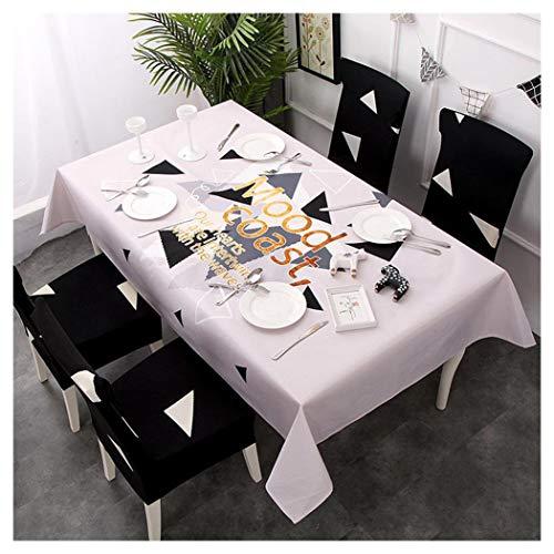 GUOCU Mantel Rectangular Impermeable Antimanchas Algodón Lino Mantel de Mesa Decoración para Cocina Comedor Fiesta Mantel Silla Juego de Tela Triángulo Cuatro Fundas para sillas