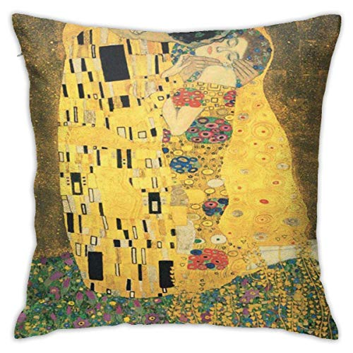 Mesllings Square Throw Pillow Cover, Klimt The Kiss Gustav Austria Painting Decorative Pillow Case for Sofa 18 X 18 Inches